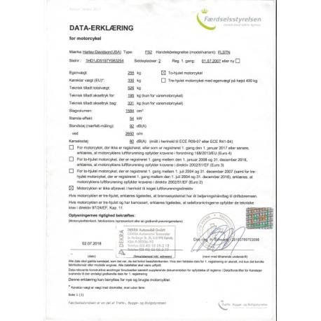 Data -erklæring bil/mc