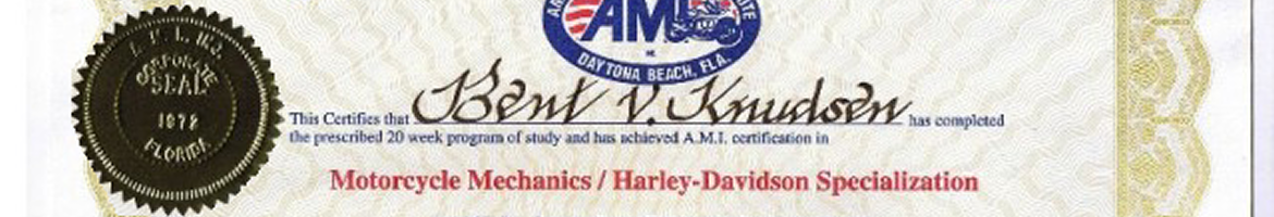 Certificeret fra American Motorcycle Institute